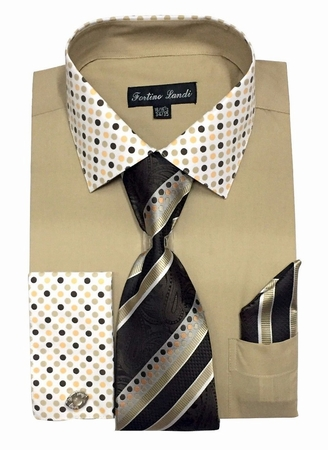 Fortino Milano Mens Khaki French Cuff Dress Shirt Tie Set FL630 - click to enlarge