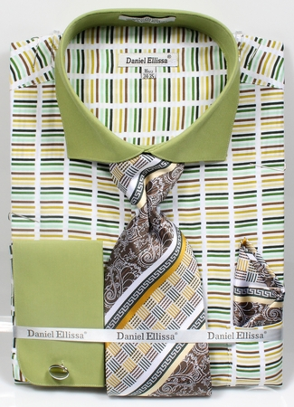 DE Men's Dress Shirts French Cuff Green Gradient Tie Combo DS3783P2 - click to enlarge