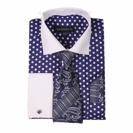 George Cotton Purple Polka Dot French Cuff Dress Shirt AH613 - click to enlarge