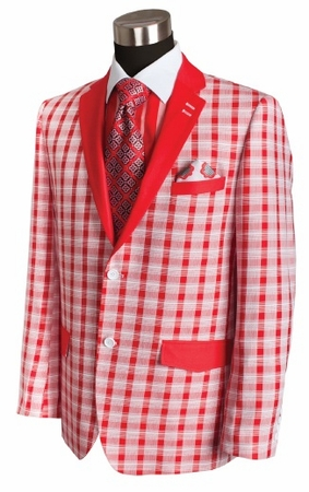 Bruno Conte Mens Red Plaid Blazer Fashion MC021 - click to enlarge