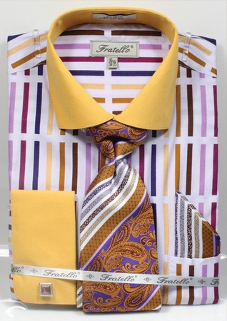 Fratello Mens Mustard Multi French Cuff Dress Shirt Tie Set FRV4133P2 - click to enlarge