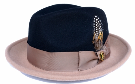 Bruno Mens 2 Tone Fedora Hat Black/Camel UN-124 - click to enlarge