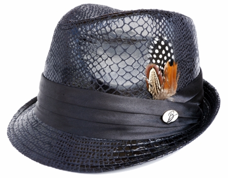 Bruno Mens Black Vegan Leather Snake Print Stingy Brim Hat FD-250 - click to enlarge