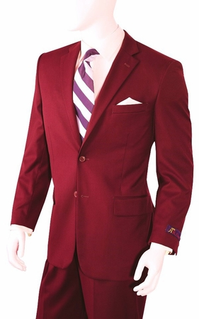 Mens Ron Burgundy Color 2 Button Single Breasted Suit A72TE - click to enlarge