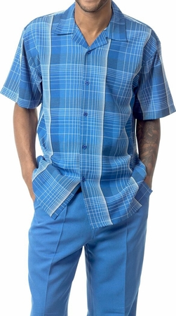 Mens Dress Outfit by Montique Bright Blue Plaid Casual Set 1741 - click to enlarge