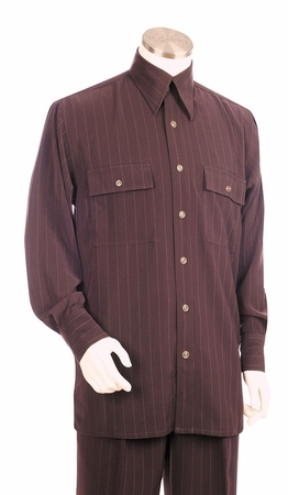 Canto Big and Tall Pinstripe Long Sleeve Walking Suits 867 - click to enlarge