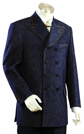 Canto  Blue 8 Button Double Breasted Urban Style Denim Suit 8305 - click to enlarge