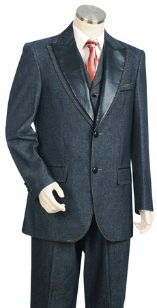 Canto Blue Jean Leather Lapel Fashion Suit 8322 - click to enlarge