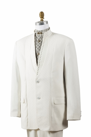 Canto Off White Mandarin Collar Rhinestone Fashion Suit 8390 - click to enlarge