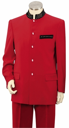 Canto Mens Unique Red Rhinestone Banded Collar Fashion Suit Size 44R  8367 Final Sale - click to enlarge