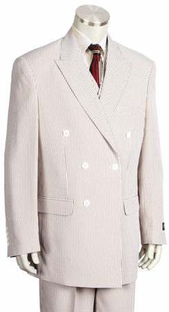 Canto Double Breasted Style Mens Seersucker Suits 8356 Size 50 Long Final Sale - click to enlarge