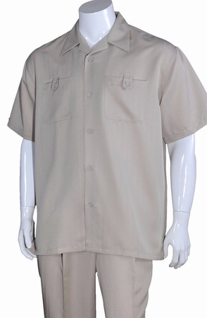 Summer Walking Suits Mens Tan Short Sleeve Outfit M2963 - click to enlarge