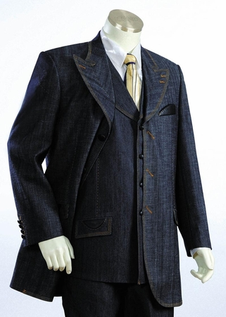 Canto Urban Fashion Jean Suit Leather Trim Buttons 8307 - click to enlarge