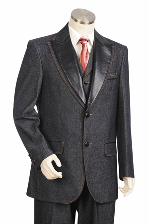 Canto Leather Collar Jean Suit Black 8322 - click to enlarge
