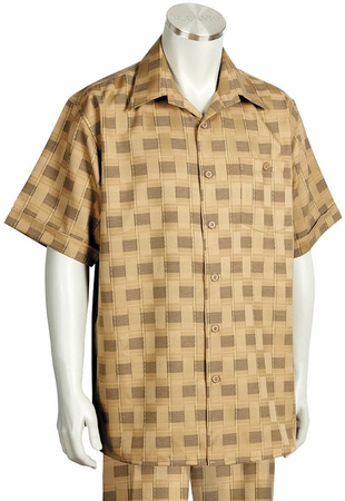 Canto Leisure Suit Mens Beige Checker Short Sleeve Walking Set 694 - click to enlarge