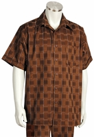 Canto Leisure Suit Mens Brown Checker Short Sleeve Walking Set 694
