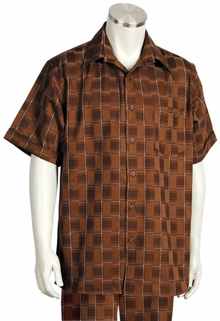 Canto Leisure Suit Mens Brown Checker Short Sleeve Walking Set 694 - click to enlarge
