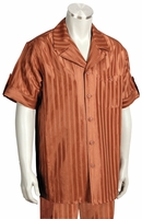 Canto Leisure Suit Mens Rust Shiny Stripe Short Sleeve Walking Set 693