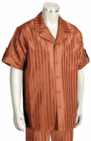 Canto Leisure Suit Mens Rust Shiny Stripe Short Sleeve Walking Set 693 - click to enlarge