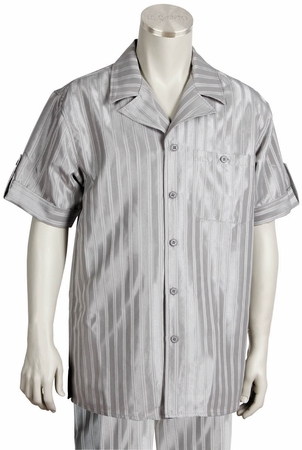 Canto Leisure Suit Mens Silver Shiny Stripe Short Sleeve Walking Set 693 - click to enlarge