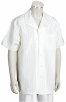 Canto Leisure Suit Mens White Shiny Stripe Short Sleeve Walking Set 693