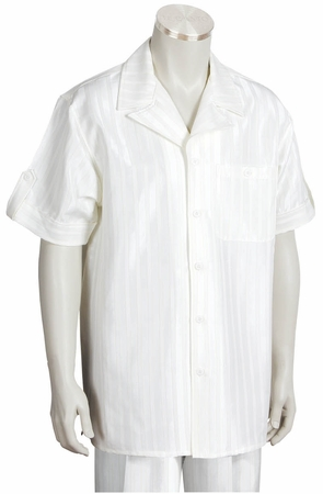 Canto Leisure Suit Mens White Shiny Stripe Short Sleeve Walking Set 693 - click to enlarge