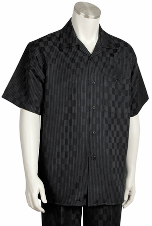 Canto Mens Black Checker Design Short Sleeve Walking Suit 6104 - click to enlarge