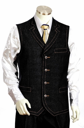 Canto Mens Dark Blue Denim High Fashion Vest Outfit 9027 - click to enlarge