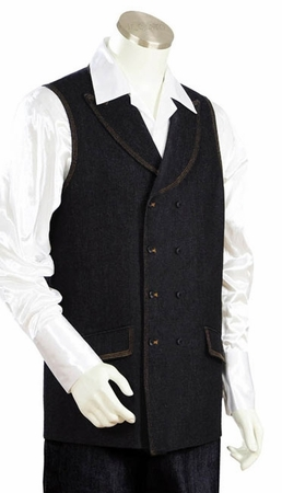 Canto Mens Black Double Breasted Denim Long Vest Outfit 9024 - click to enlarge
