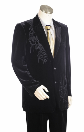 Canto Mens Black Embroidered Velvet Suit 8327 - click to enlarge
