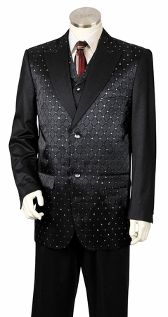 Canto Mens Black Diamond Pattern Vested Exotic Fashion Suit 8368 - click to enlarge