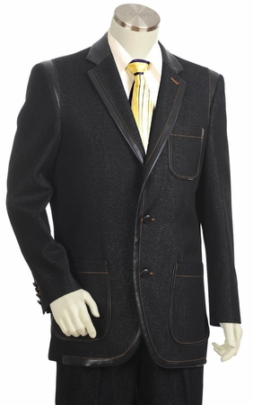 Canto Mens Black Leather Trim Denim High Fashion Suit 8355 - click to enlarge