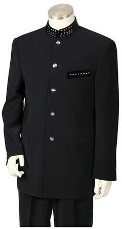 Canto Mens Unique Black Rhinestone Banded Collar Fashion Suit 8367 - click to enlarge