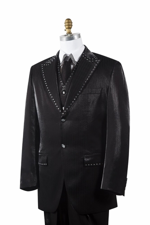 Canto Mens Black Sharkskin Rhinestone 3 Pc. Entertainer Suit 8379 - click to enlarge