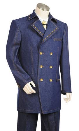 Canto Mens Blue Diamond Studded Denim High Fashion Suit 8373 - click to enlarge