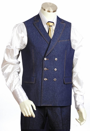 Canto Mens Blue Double Breasted Denim Vest Outfit 9028 - click to enlarge