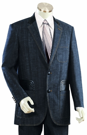 Canto Mens Blue Leather Trim Denim High Fashion Suit 8308 - click to enlarge