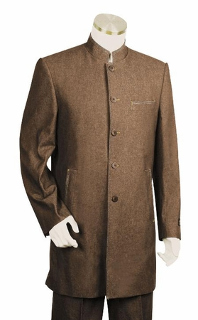 Canto Mens Brown Denim Chinese Collar Style Suit 8313 - click to enlarge