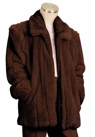 Canto Mens Brown Faux Fur Coat 3/4 Length F018 - click to enlarge