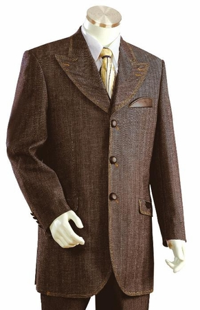 Canto Mens Brown Leather Trim Denim Fashion Suit 8307 - click to enlarge