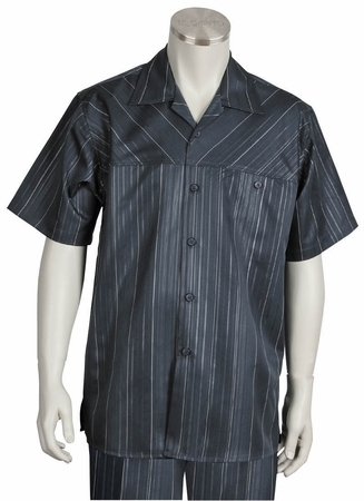Canto Mens Charcoal Fancy Stripe Short Sleeve Walking Suits 6102 - click to enlarge