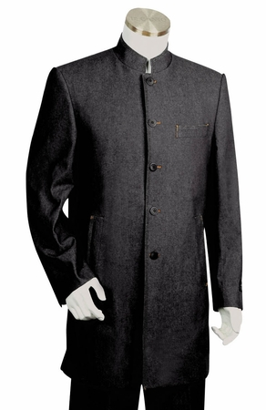Canto Mens Chinese Collar Denim Suit Black 8313 - click to enlarge