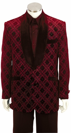 Canto Mens Fancy Red Velvet Entertainer Suit 8162 - click to enlarge