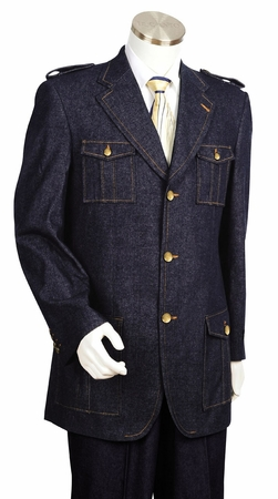 Canto Mens Military Style Denim High Fashion Suit 8372 - click to enlarge