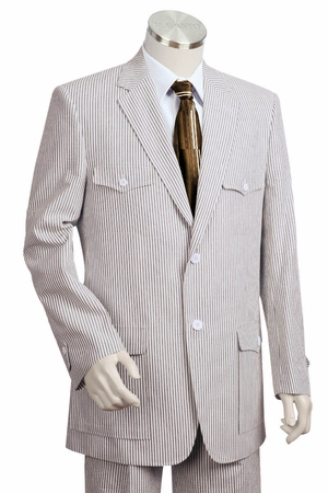 Canto Mens Military Style Seersucker Suits 8345 - click to enlarge