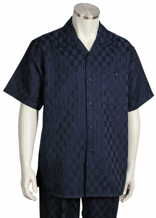 Canto Mens Navy Blue Checker Design Short Sleeve Walking Suit 6104 - click to enlarge