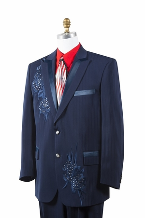 Canto Mens Navy Poly Woven Rhinestone Entertainer Suit 8381 - click to enlarge