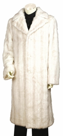 Canto Mens Off White Faux Fur Overcoat Full Length F010 - click to enlarge