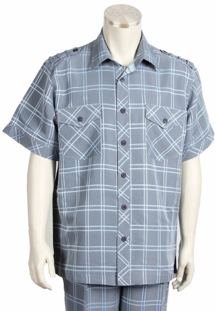 Canto Mens Blue Plaid Short Sleeve Casual Leisure Walking Suit 6105 - click to enlarge