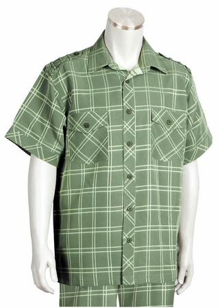 Canto Mens Olive Plaid Short Sleeve Casual Walking Suit 6105 - click to enlarge